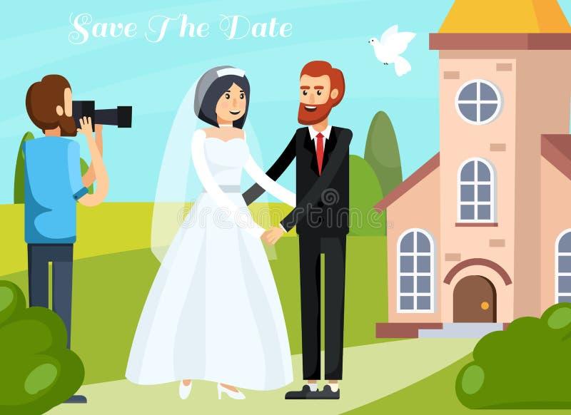 Состав людей свадьбы ортогональный бесплатная иллюстрация