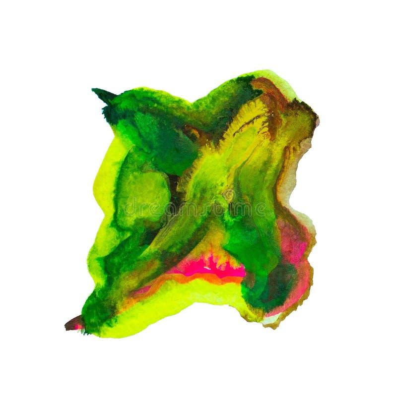 Состав мазков зеленых и красная акварель, brushstroke краски как изолированный образец продукта искусства, Для дизайна и украшени иллюстрация вектора