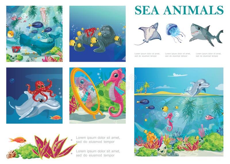 Состав морской жизни мультфильма иллюстрация вектора