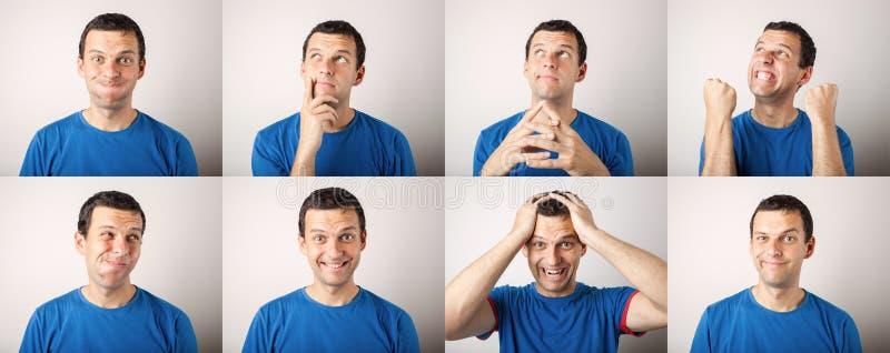 Состав молодого человека выражая различные эмоции стоковые изображения