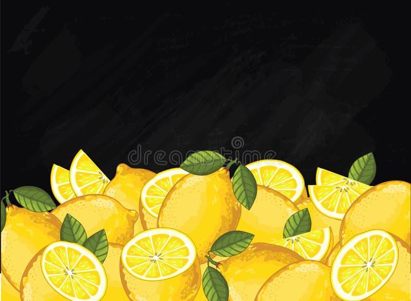 Состав на доске, вектор плодоовощ лимона иллюстрация штока