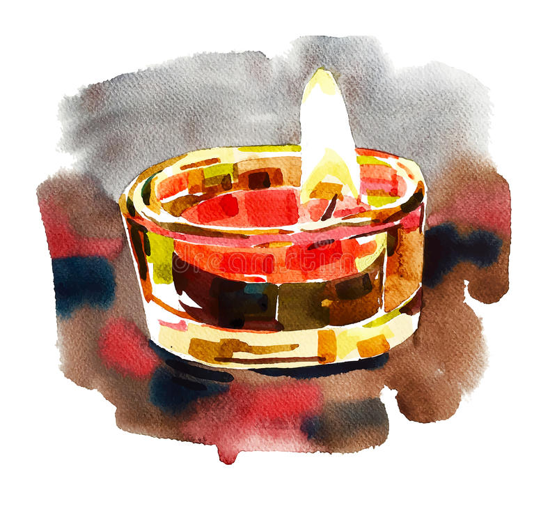 Состав освещения Diwali акварели, картина для индийского festi иллюстрация вектора