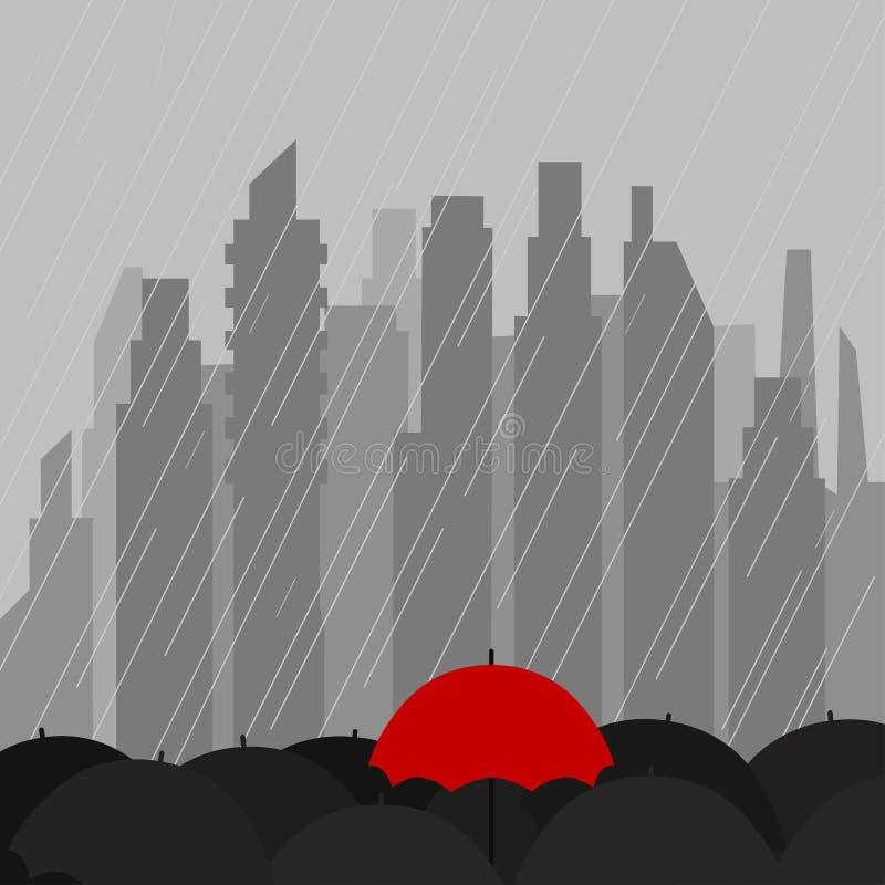 Состав осени с зонтиками дождя на предпосылке городского пейзажа иллюстрация штока