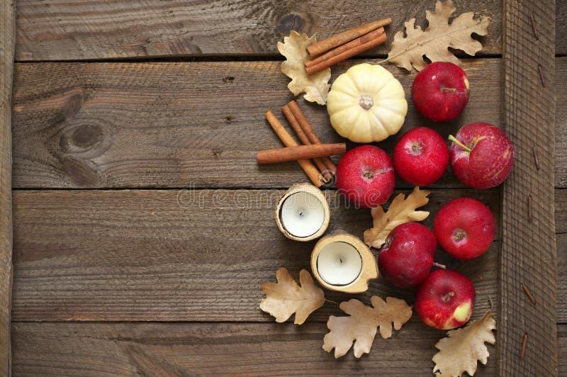 Состав осени с красными яблоками стоковые фото