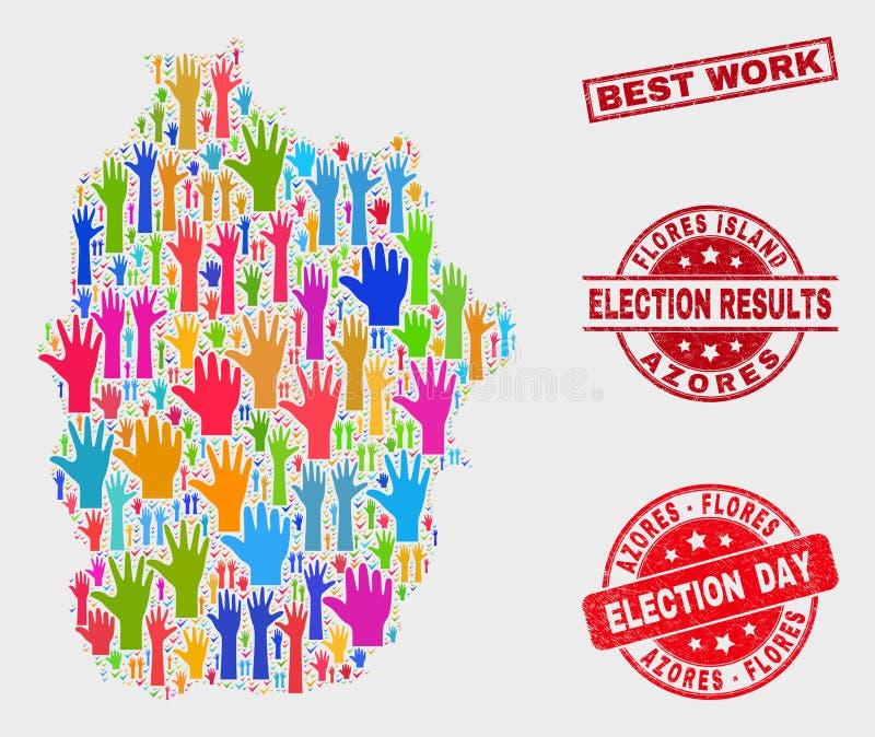 Состав острова Flores голосования карты Азорских островов и уплотнения работы самое лучшее Grunge иллюстрация штока