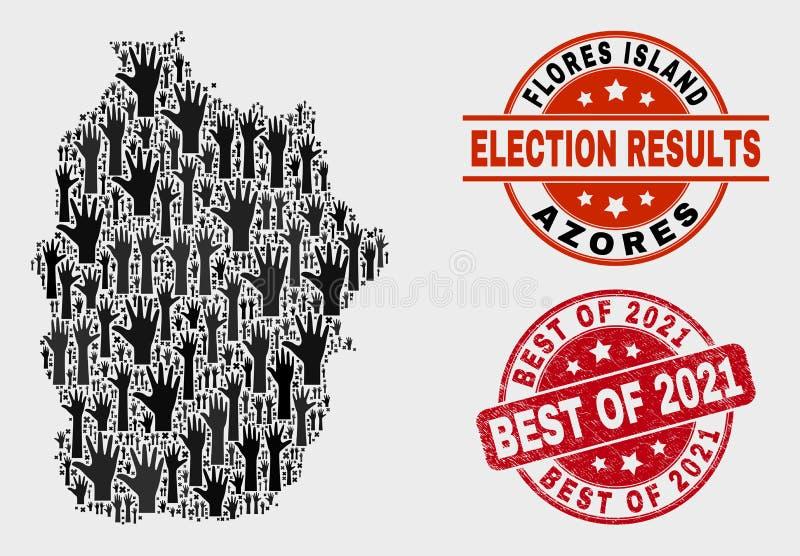 Состав острова Flores голосования карты Азорских островов и поцарапанного самое лучшее уплотнения 2021 иллюстрация штока
