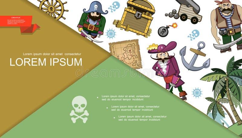 Состав пиратов мультфильма красочный бесплатная иллюстрация