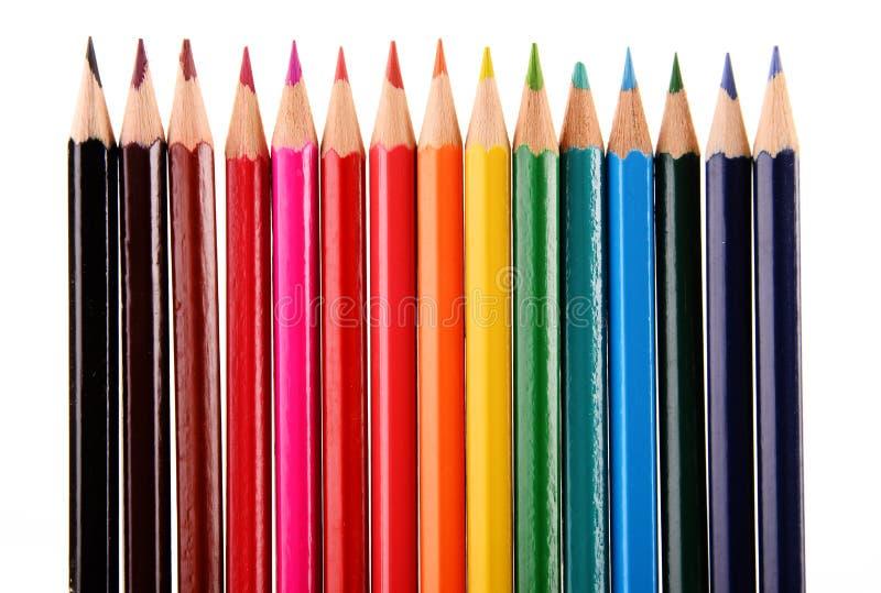 Состав при красочные crayons изолированные на белизне стоковое фото