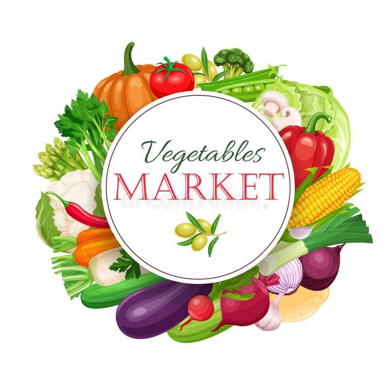 Состав плаката круглый с красочными овощами бесплатная иллюстрация