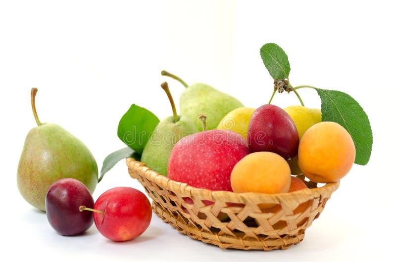 Состав плодоовощ - плетеная деревянная корзина с всеми зрелыми плодоовощами - груши, сливы, абрикосы и яблоки на белой предпосылк стоковое изображение rf