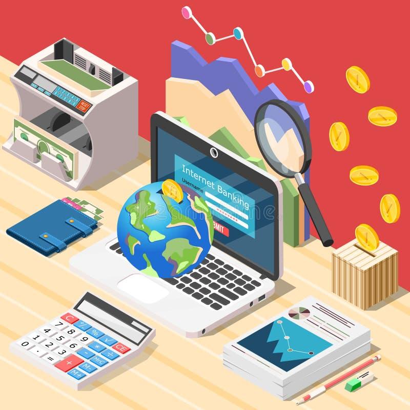 Состав рабочего места бухгалтера равновеликий иллюстрация вектора