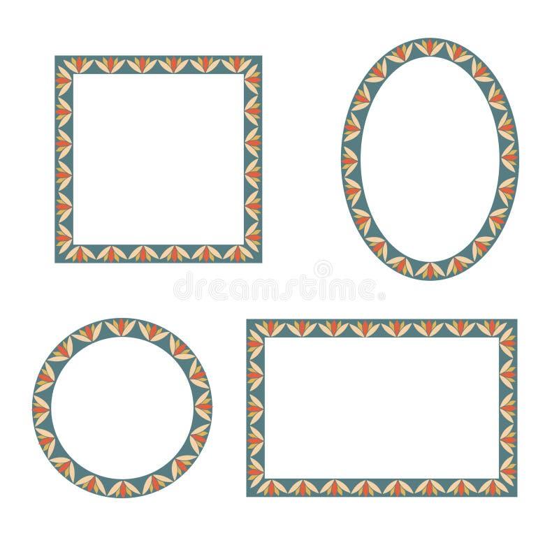 Состав различных машин внутри Различная форма обрамляет собрание Комплект вектора vint иллюстрация вектора