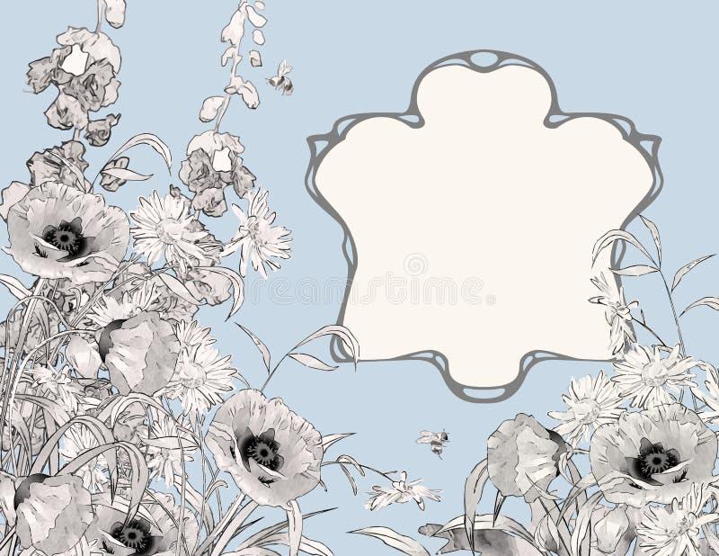 Состав рамки стиля Арт Деко ботанический иллюстрация штока