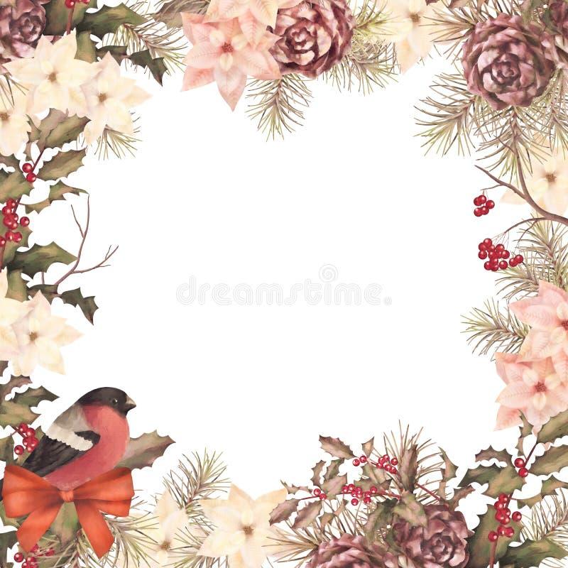 Состав ретро акварели рождества декоративный иллюстрация вектора