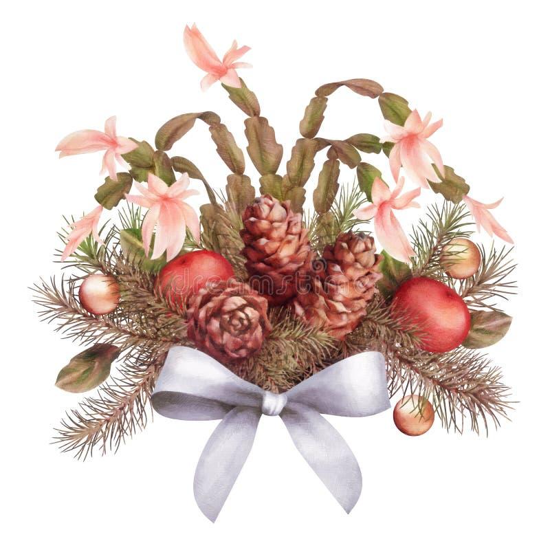 Состав ретро акварели рождества декоративный иллюстрация штока