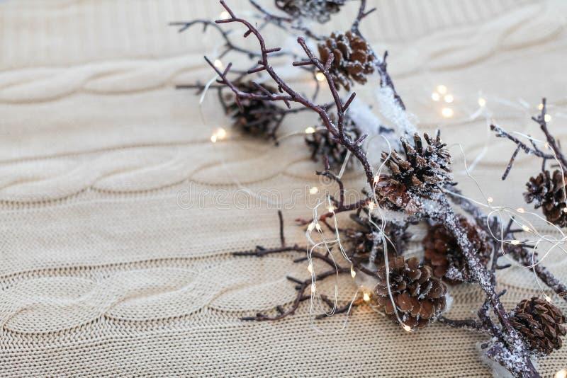 Состав рождества и Нового Года Закройте вверх по ветвям снега с конусами и гирлянде на связанной белой предпосылке стоковые изображения