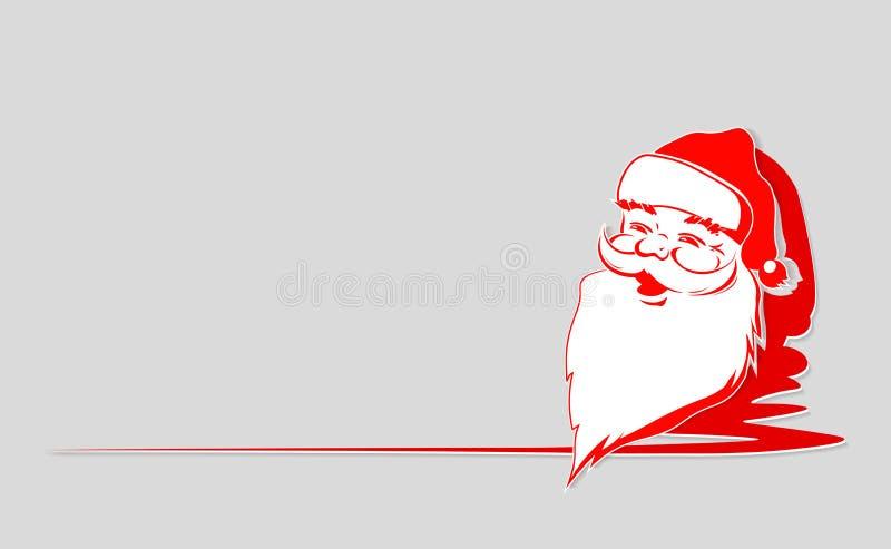 Состав рождества красный белый с Санта Клаусом смотрит на с местом для текста бесплатная иллюстрация