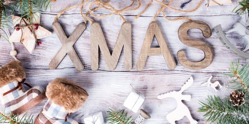 Состав рождества с XMAS писем стоковая фотография