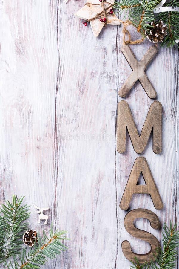 Состав рождества с XMAS писем стоковые изображения