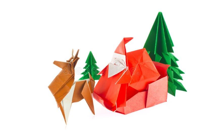 Состав рождества origami стоковая фотография rf