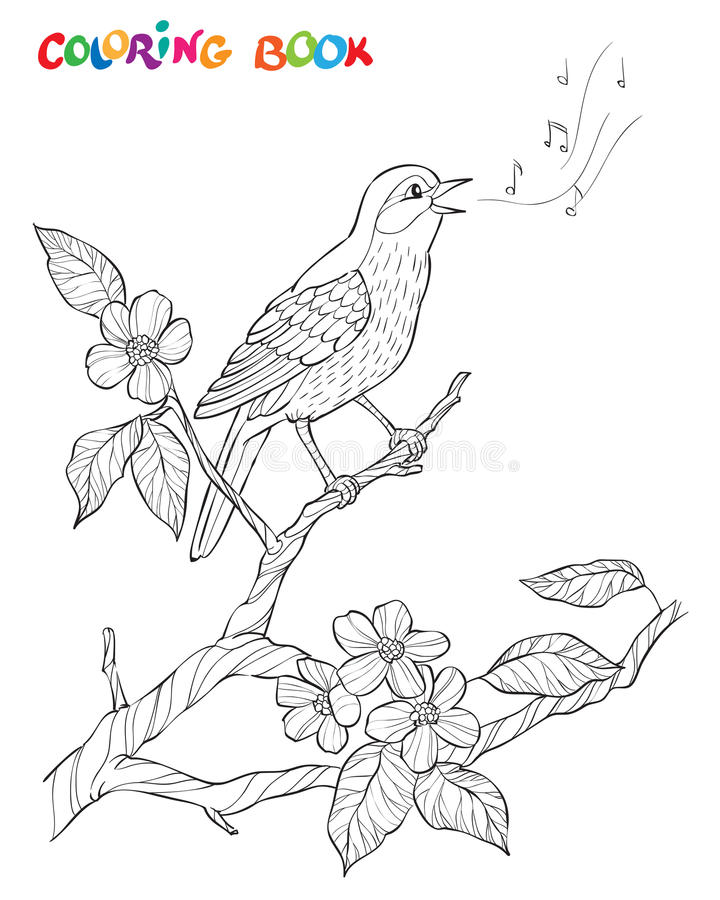 Состав сада весны Птица поет на ветви цветеня Богато украшенная декоративная черно-белая иллюстрация бесплатная иллюстрация