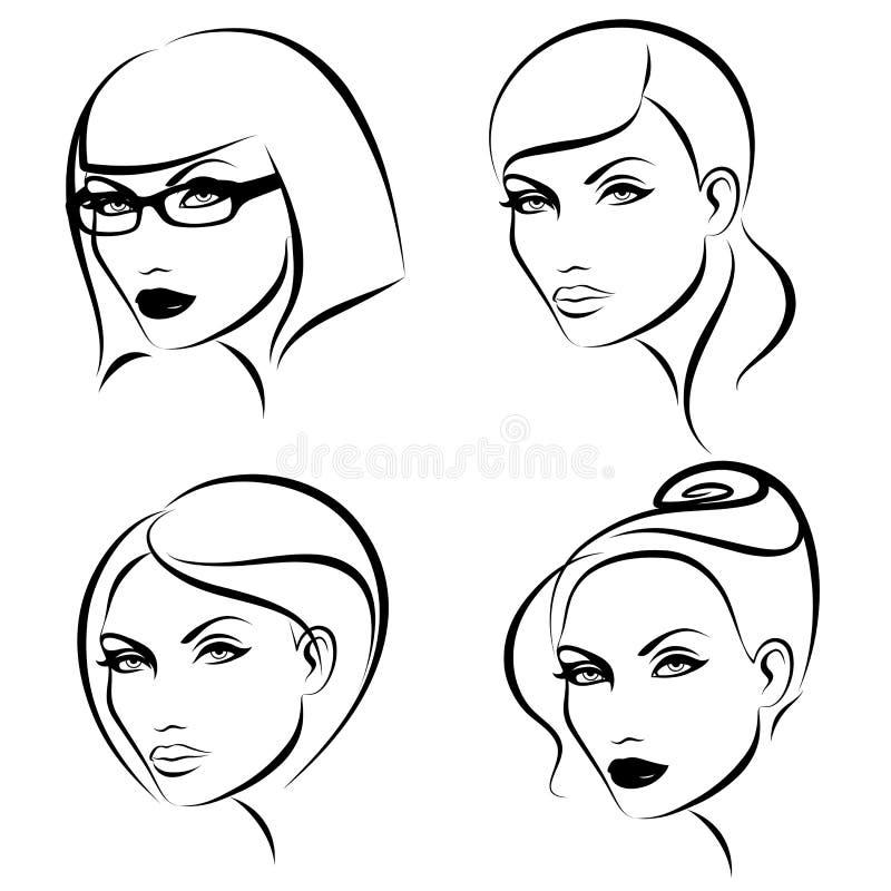 состав стилей причёсок иллюстрация вектора