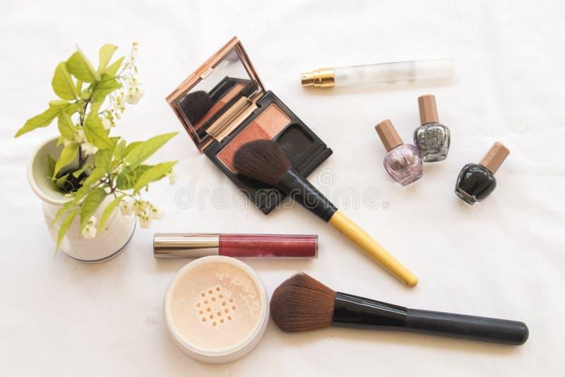 Состав стороны кожи красоты установленный косметический стоковые изображения rf