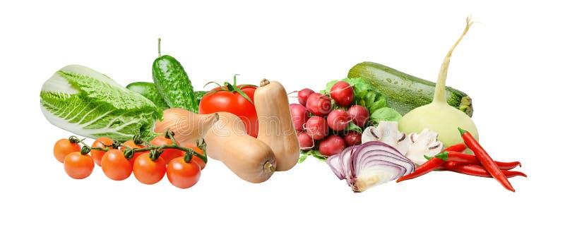 Состав с большим разнообразием различных овощей на белой изолированн стоковое фото