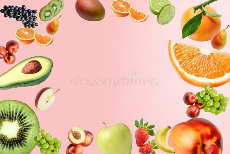 Состав с большим разнообразием различных плодов повсеместно в поле рамки Место для текста в середине иллюстрация вектора