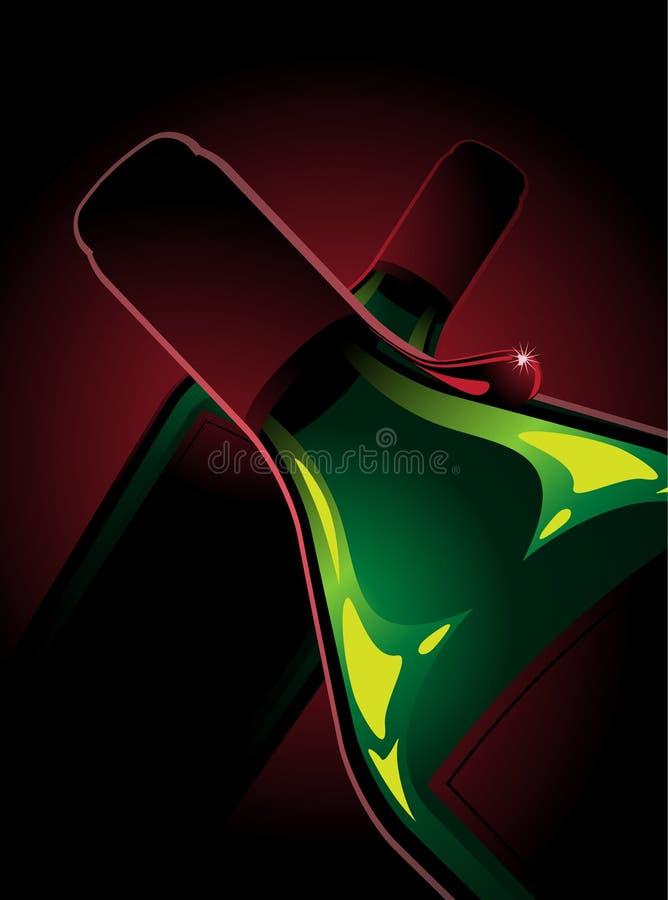 2 бутылки красного вина иллюстрация вектора