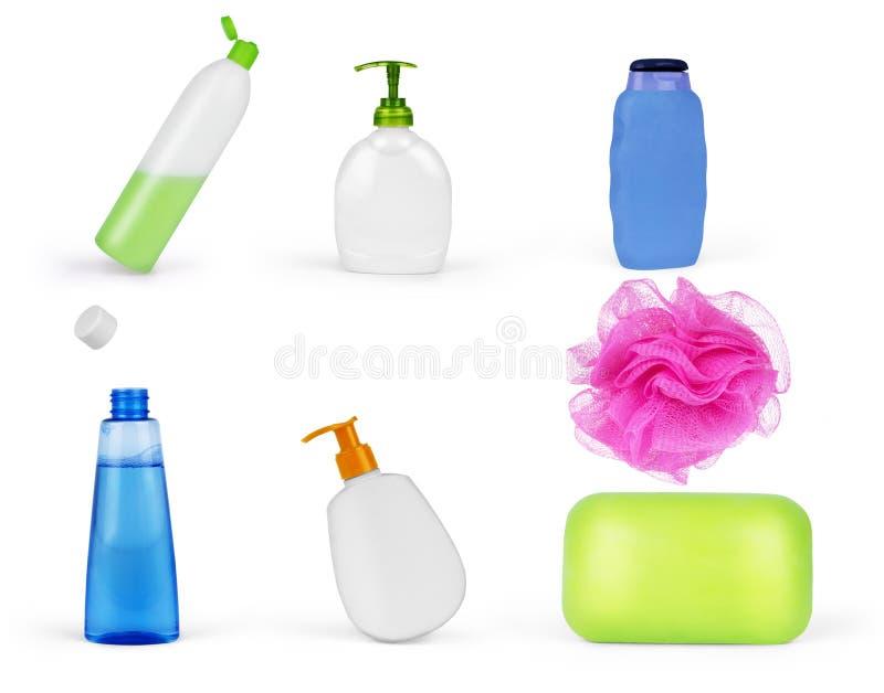 Состав с пластичными бутылками продукта заботы и красоты тела стоковые фотографии rf