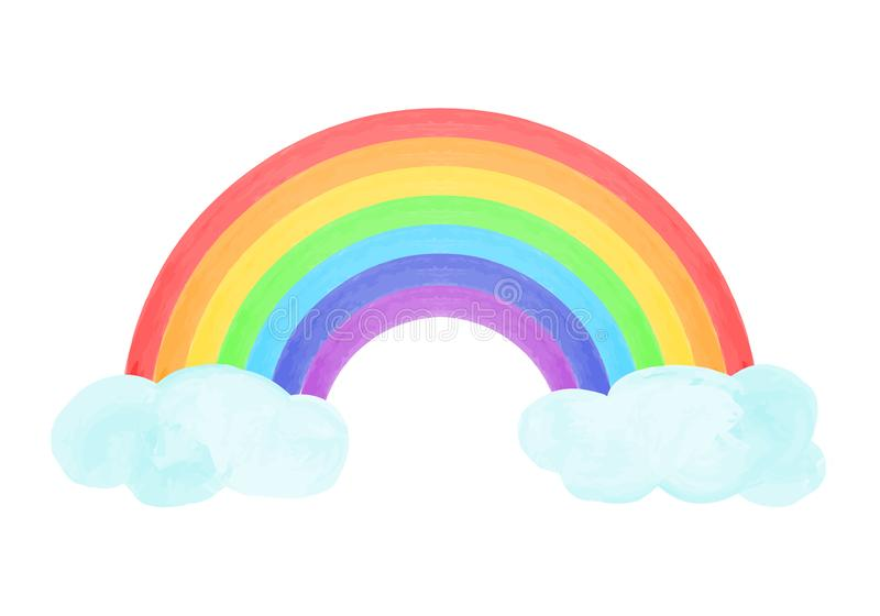 Состав с радугой и облаками в стиле нарисованном рукой также вектор иллюстрации притяжки corel иллюстрация вектора