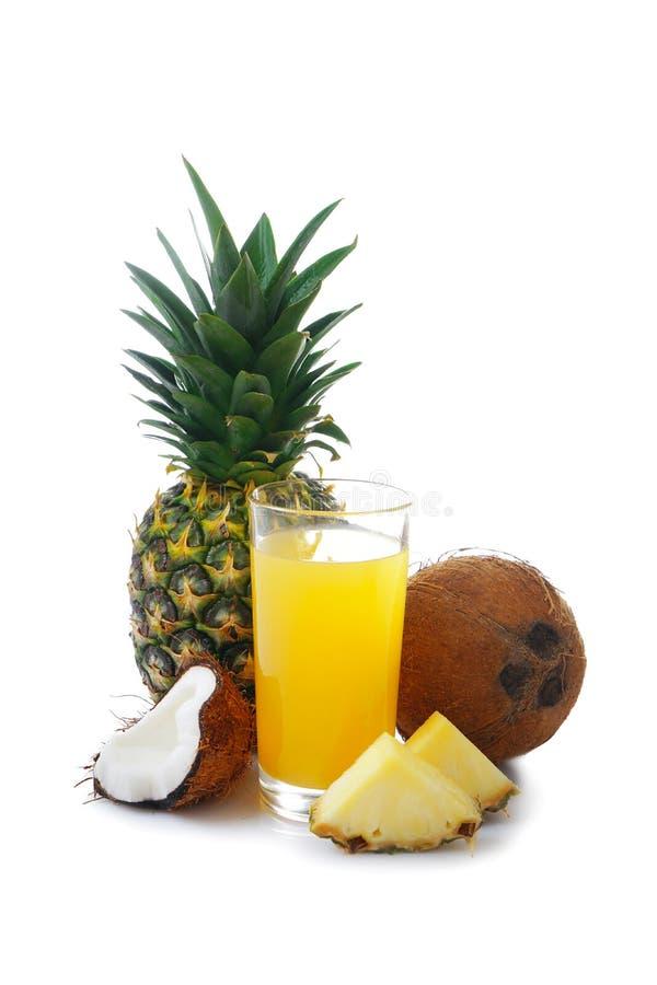 Состав с свежими ананасом, кокосом и стеклом стоковое изображение