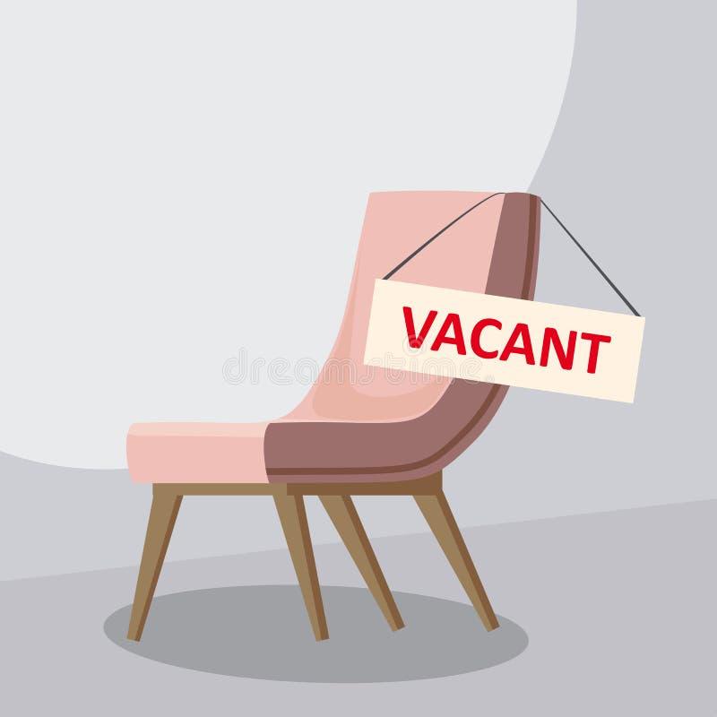Состав с стулом офиса и знак вакантный Рабочее место дела и завербовывая концепция также вектор иллюстрации притяжки corel иллюстрация вектора