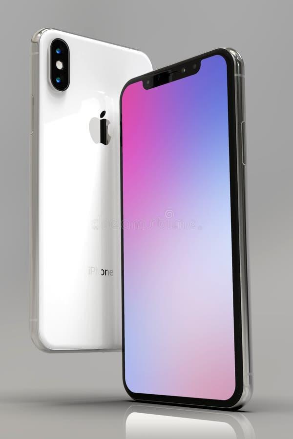 состав 2 телефонов iPhone XS умный, вертикальный иллюстрация вектора