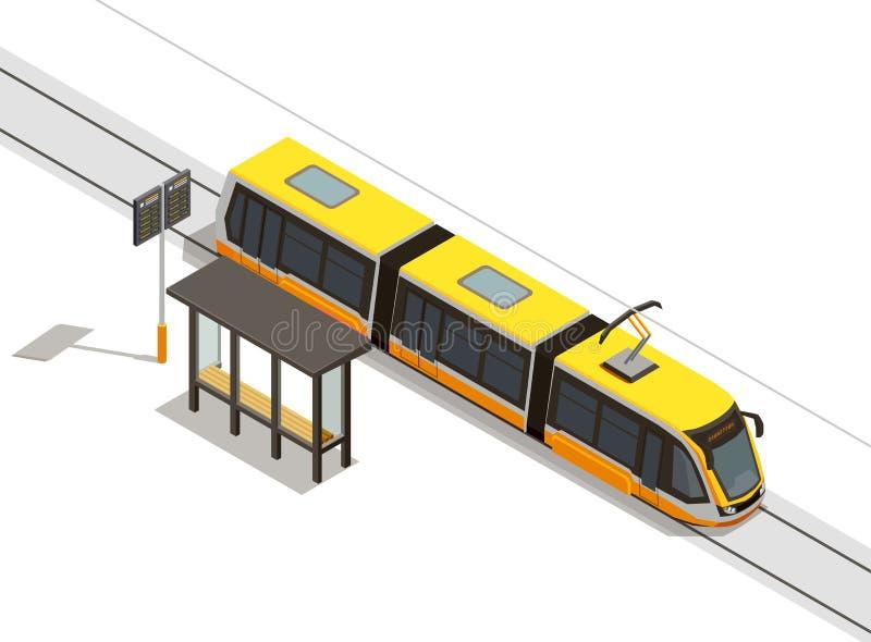 Состав трамвайной остановки равновеликий иллюстрация штока
