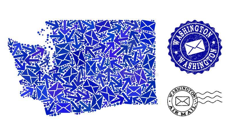 Состав троп почты карты мозаики уплотнений штата Вашингтона и дистресса иллюстрация вектора
