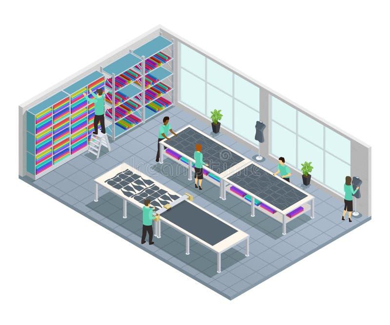 Состав фабрики одежд равновеликий иллюстрация вектора