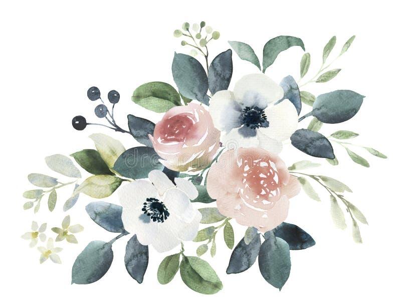 Состав флористического букета свадьбы акварели с краснеет розы a иллюстрация штока