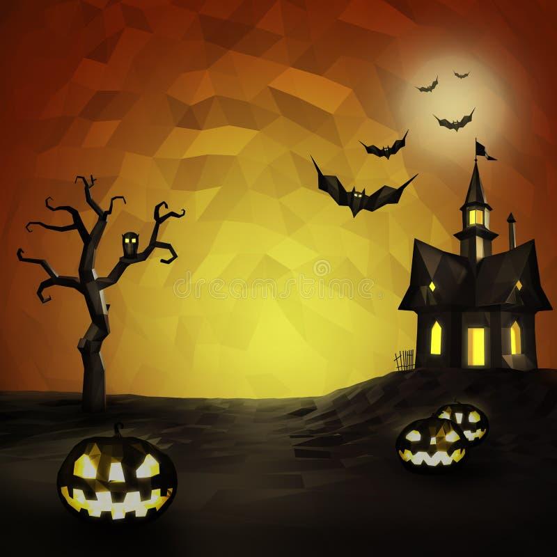 Состав хеллоуина низкий поли иллюстрация вектора