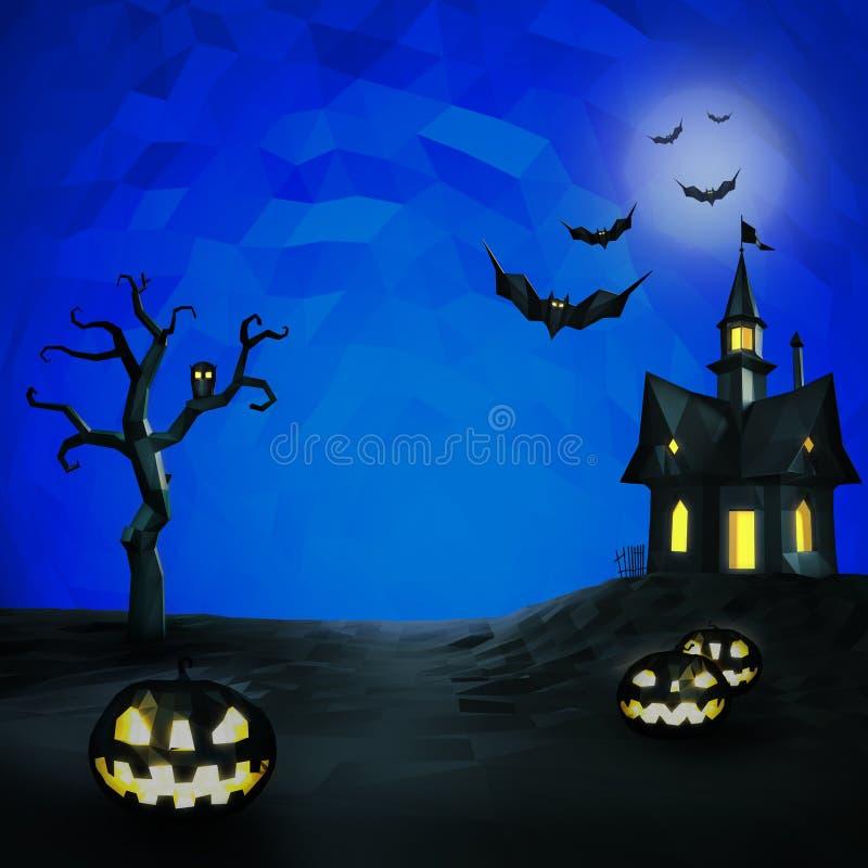 Состав хеллоуина низкий поли иллюстрация штока
