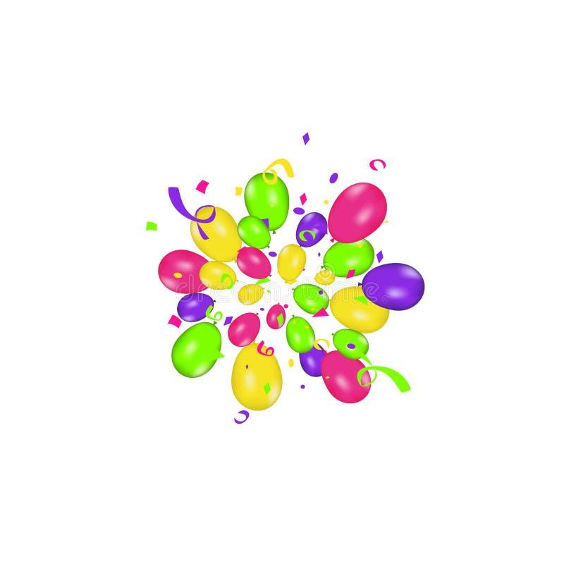 Состав цвета воздушных шаров вектора реалистических и красочного confetti burstisolated на белой предпосылке baloney иллюстрация штока