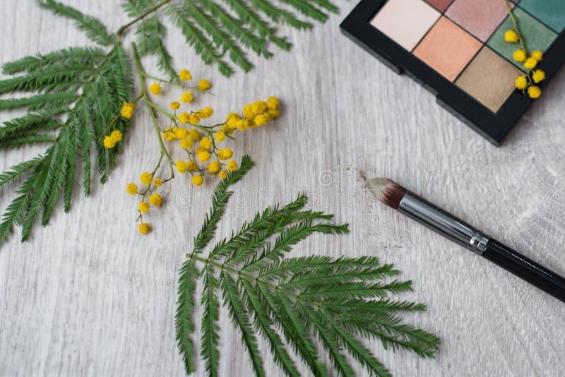 Состав цветка дизайна натюрморта флористический декоративный сделанный от мимоз на деревянной предпосылке стоковая фотография rf