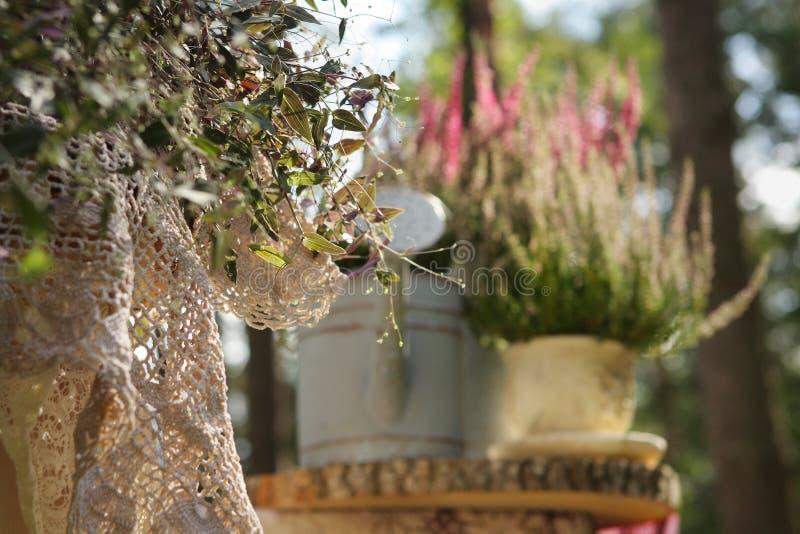 Состав цветков с моча чонсервной банкой в саде стоковые изображения rf