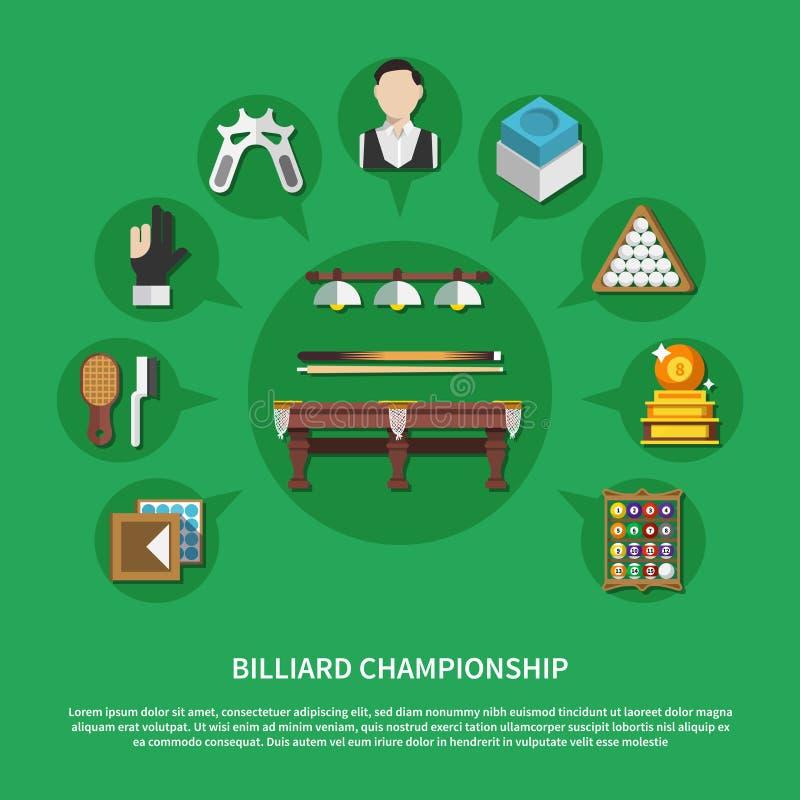 Состав чемпионата биллиарда плоский иллюстрация вектора
