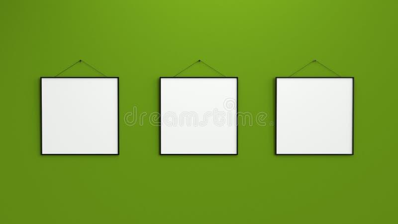 Состав 3 черных пустых рамок фото на зеленой стене 3d r стоковое фото rf