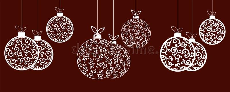 Состав шариков белого рождества в ретро стиле, элементе дизайна иллюстрация вектора