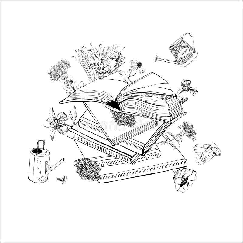 Состав эскиза руки вычерченного monochrome с книгами, цветками лета, лейками и перчатками для зеленой прессы иллюстрация вектора