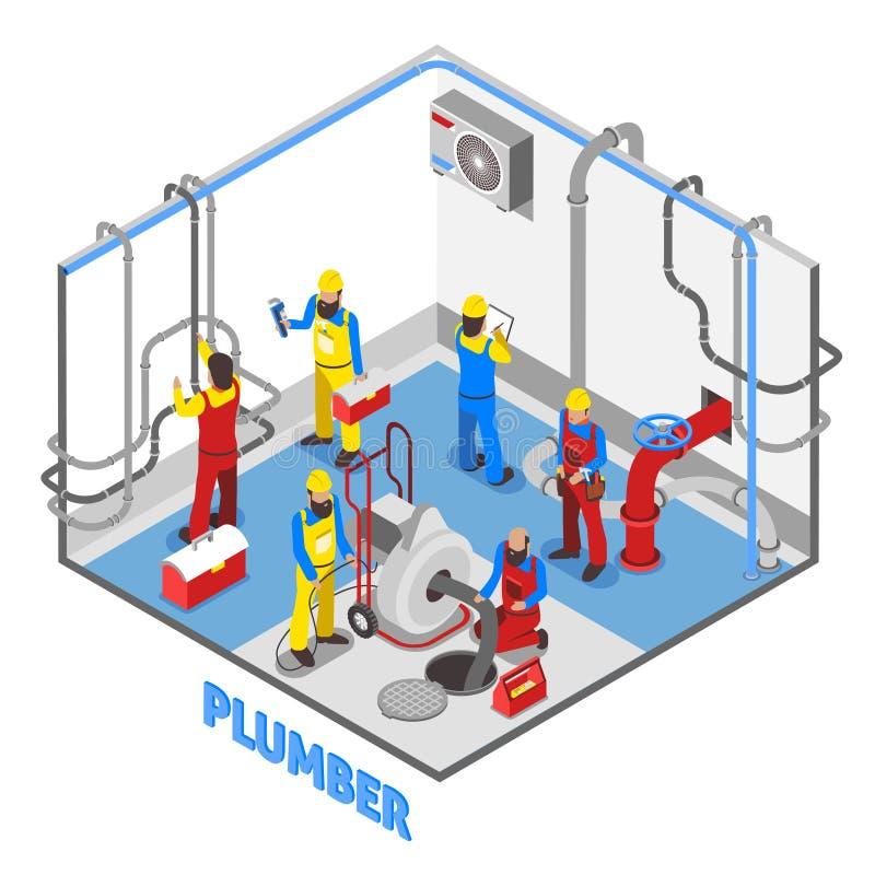 Состав людей водопроводчика равновеликий бесплатная иллюстрация