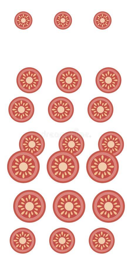 Состав яркой красной пластмассы прерванного центра томата среднего нашивок солнцецвета ярких вертикали изолированных на белом bac иллюстрация штока